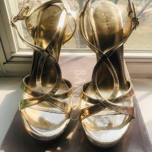 "Bakers Shoes ""Phoebe"" Gold open toe pumps"